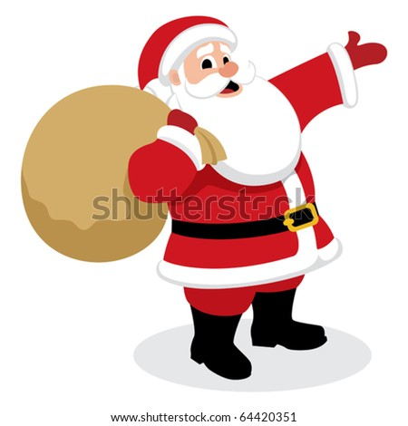 Santa Presents: Santa Claus, presenting something. No transparency and gradients used. - stock vector