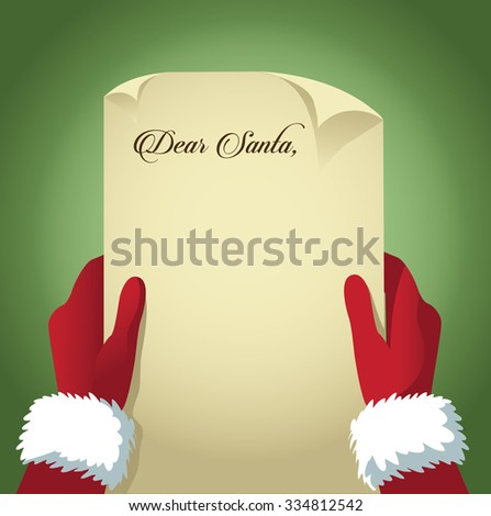 Santa reads a letter with copy space EPS 10 vector illustration - stock vector