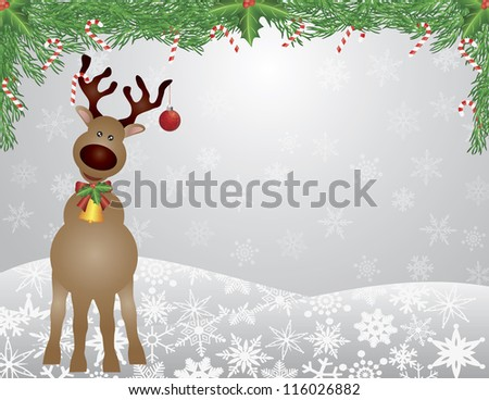 Santa Reindeer with Bow Holly Christmas Ornament with and Garland with Candy Cane on Snowflakes Background Vector Illustration