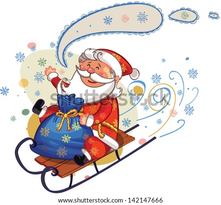 santa riding on sledge with bag fully of gifts - stock vector