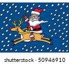 Santa Riding Reindeer - stock vector