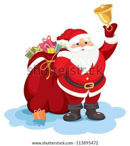 Santa ringing bell - stock vector