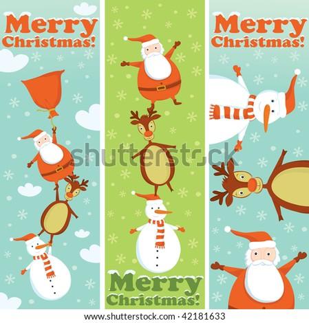 Santa, Rudolf and Snowman banners - stock vector