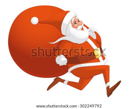 Santa running with the bag full of gifts - stock vector