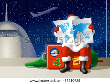 Santa's Christmas travel. Vector - stock vector