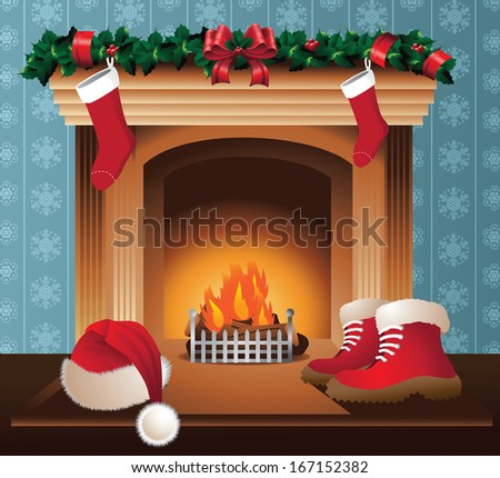 Santa�s fireplace. Santa Claus dries his boots and hat by the fire. EPS 10 vector, grouped for easy editing. No open shapes or paths. - stock vector