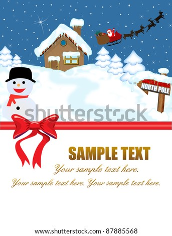 Santa's house at North Pole and his sleigh with space for your text,vector illustration - stock vector