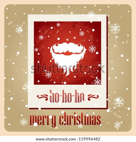Santa's mustache. Vector. Christmas card. ho-ho-ho - stock vector