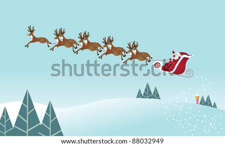 Santa's Ride Santa Claus takes off from the North Pole with his eight tiny reindeer. EPS 8 vector grouped for easy editing. - stock vector