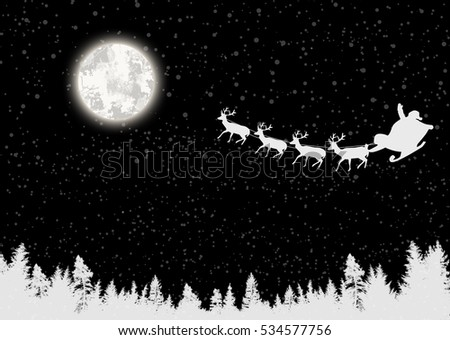Santa's sleigh and full moon on beautiful black night, vector illustration