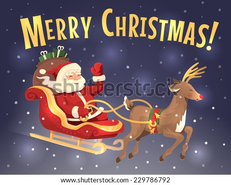 Santa's sleigh and reindeer. Christmas card. Vector illustration.