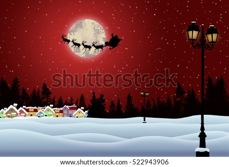 Santa's sleigh in front of full moon in beautiful snowy landscape on red night, vector illustration