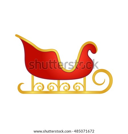 Santa's Sleigh in red and gold color, vector design