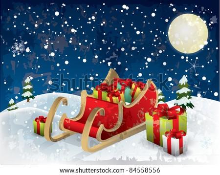 Santa?s sleigh tree and snow - stock vector