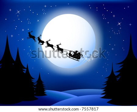 Santa`s sleigh - vector. All elements are grouped in layers. check Out My Portfolio For Similar Illustrations ... - stock vector