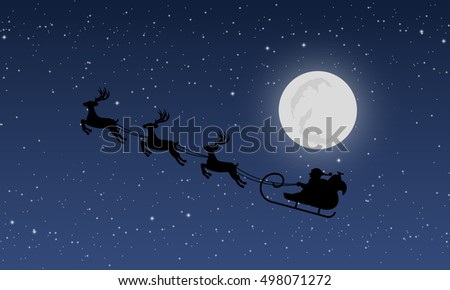 Santa's sleigh with reindeers on background of night sky with stars and moon