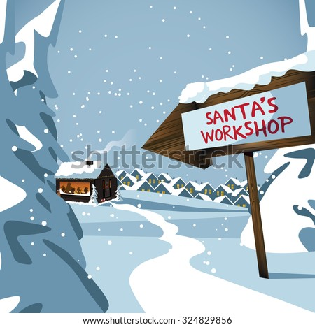 Santa's workshop at the north pole. EPS 10 vector royalty free stock illustration for ad, promotion, poster, flier, blog, article, social media, marketing - stock vector