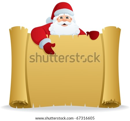 Santa Scroll: Santa, holding a scroll with copy space for your text. No transparency used. Basic (linear) gradients used. - stock vector