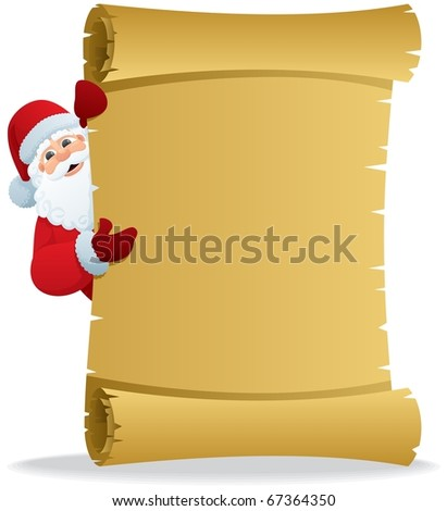 Santa Scroll 2: Santa, holding a scroll with copy space for your text. No transparency used. Basic (linear) gradients used. - stock vector