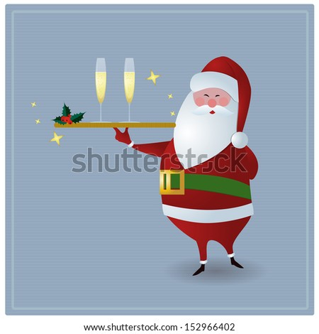 Santa serving drinks, holding golden serving plate with two glasses of champagne