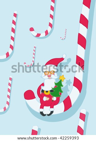 Santa sitting on the striped candy can holding christmas tree