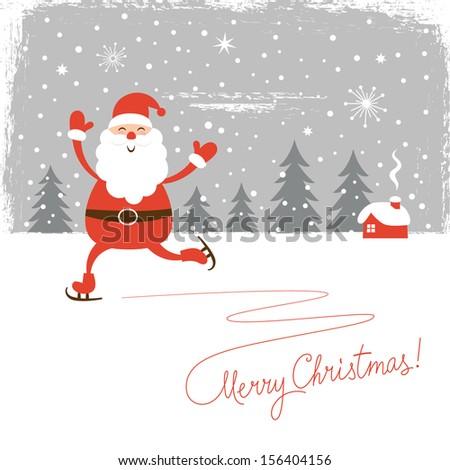 Santa skate  - stock vector