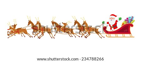 Santa Sleigh and Reindeer - stock vector