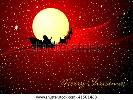 santa sleigh christmas card - stock vector