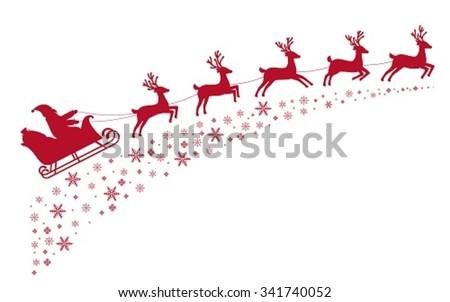 Santa sleigh reindeer flying on background of snow-covered stars. - stock vector