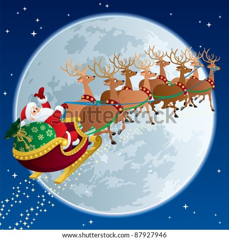 Santa Sleigh 2: Santa Claus, flying in his sleigh.  No transparency used. Basic (linear) gradients. - stock vector