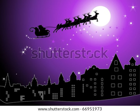 Santa sleighs in the sky over the night city - stock vector
