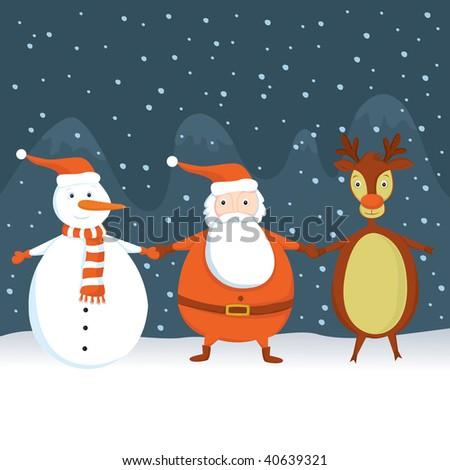 Santa, Snowman and Rudolf - stock vector
