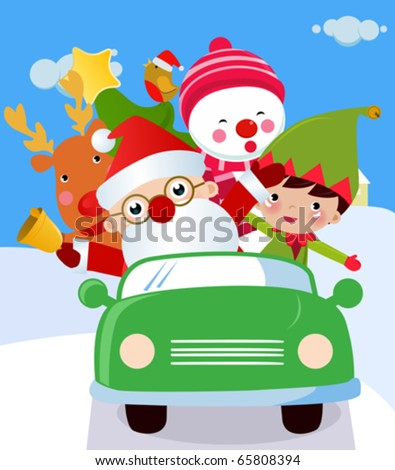 Santa ,Snowman and Rudolf in a car - stock vector