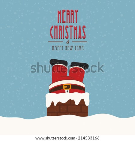 santa stuck in chimney snow background - stock vector