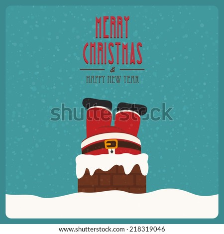santa stuck in chimney vintage snow background - stock vector