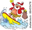 santa surfing - stock vector