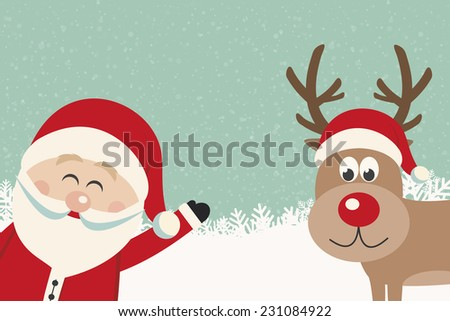 santa wave from side reindeer red nose winter background - stock vector