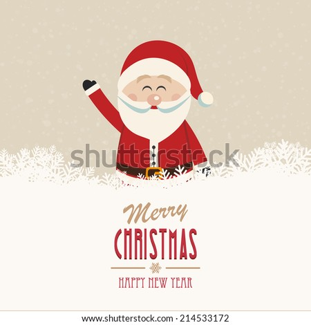 santa wave merry christmas - stock vector