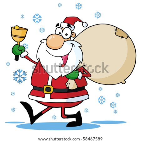 Santa Waving A Bell And Walking With His Toy Sack