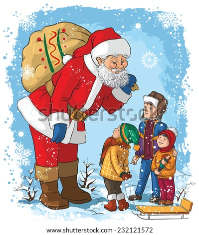 Santa with children. Christmas theme. Also available outlined version - stock vector