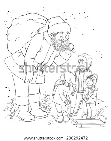 Santa with children. Christmas theme. Colouring page. Also available colored version - stock vector