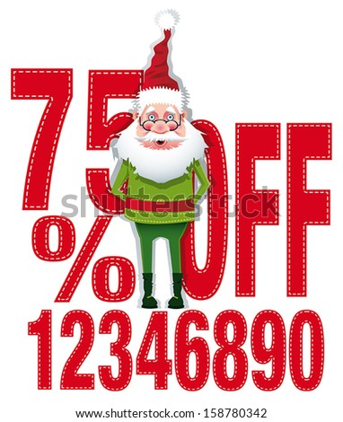 Santa with different percentages of discounts. Scalable / vector - stock vector