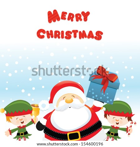 Santa With Elves - stock vector