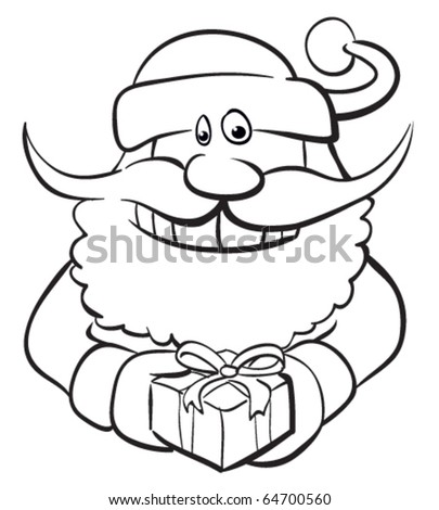 Santa with gift. Black and white, color me.