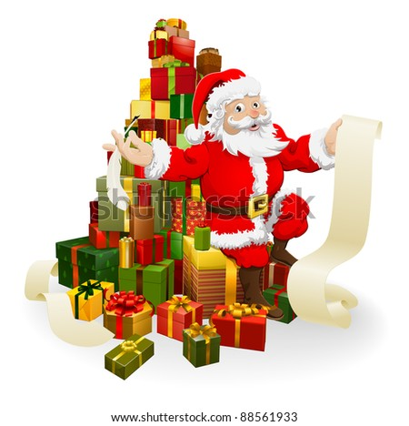 Santa with his list and and quill pen seated on a stack of gifts - stock vector