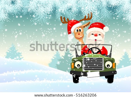 Santa with his reindeer driving a car through winter landscape, vector illustration, eps 10 with transparency and gradient meshes