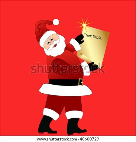 santa with list - stock vector