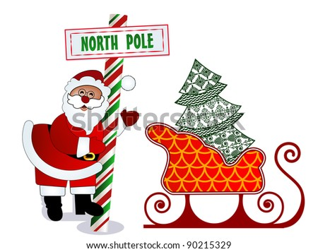 Santa with North Pole sign, tree and sleigh - stock vector