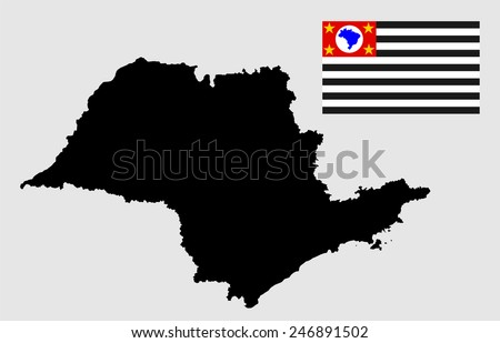 Sao Paulo, Brazil, vector map and flag isolated on white background. High detailed silhouette illustration. Original Sao Paulo flag isolated vector in official colors and Proportion Correctly - stock vector