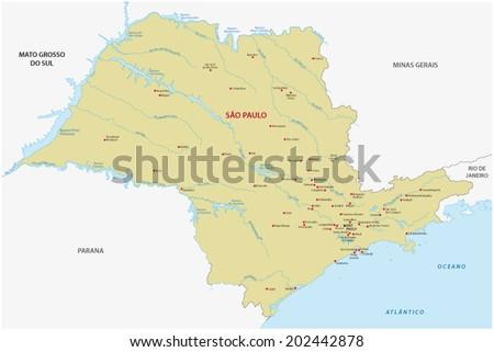 Sao Paulo State Map Stock Vector 202442878 Shutterstock
